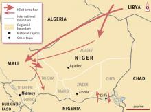 Carte des trafics d'armes vers et du Niger